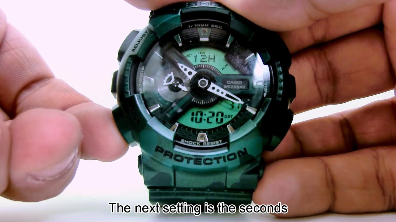 How to set time on casio g-shock ga-110.
