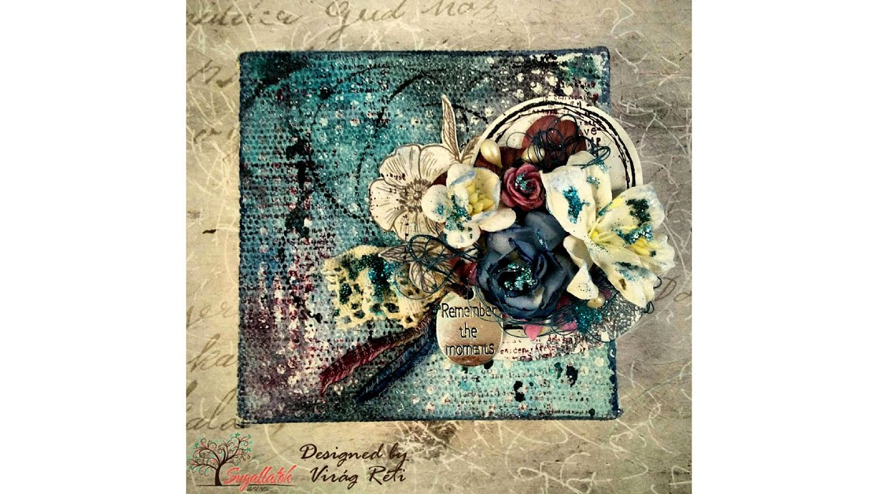 How to scrapbook on canvas - Vir G R Ti Mixed Media Scrapbook Canvas Tutorial 10 Remember The Moments