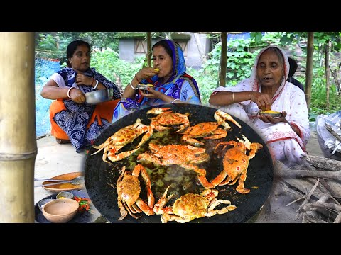 KING CRAB TAWA FRY | Tasty village style sea crab recipe by our Grandmother | villfood recipes