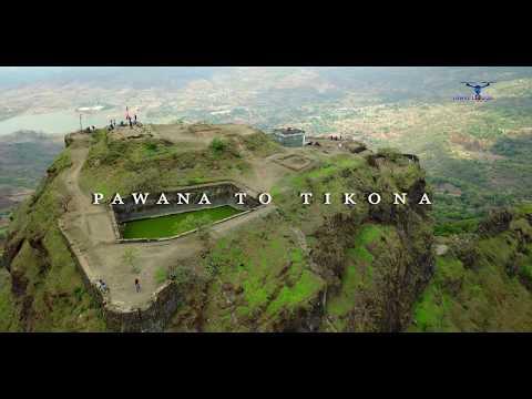 Tikona Fort & Pawna Lake: Aerial View | Lonavala, Pune (Maharashtra) India