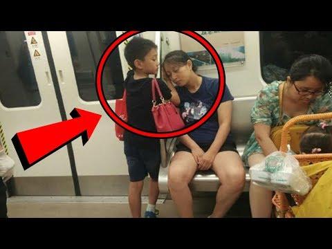 Este pequeño se paró junto a mujer dormida y lo que le hizo, se ha vuelto viral en todo el mundo