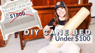 Old Bed Makeover DIY | Designer Dupe Cane Headboard For Under $100