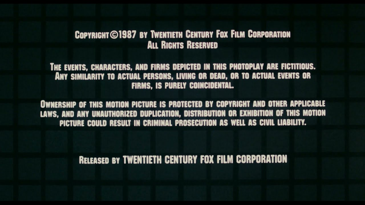 Download Released by Twentieth Century Fox Film Corporation (1987)