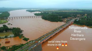 Tungabhadra river at Harihara, Davanagere aerial view shot from drone | flood situation in Karnataka