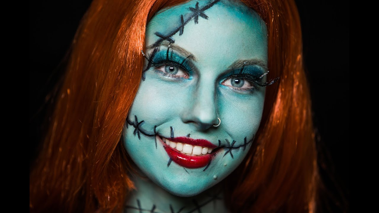 Christmas Halloween Makeup.Nightmare Before Christmas Sally Halloween Makeup Tutorial No Face Paint Needed