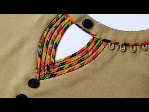 Unique and Trendy Neck Design Cutting and Stitching with Dori Loops || Neck Design for Kurti/suit