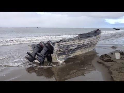 Close-up Of Panga Boat Found On San Simeon Beach
