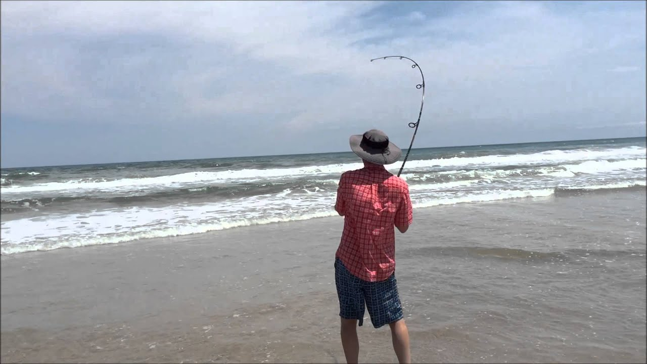 Shark catch and release topsail island nc youtube for Surf city nc fishing report