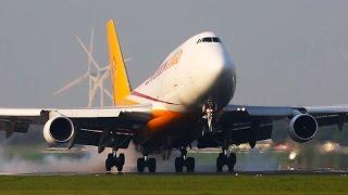 HEAVY Time at Amsterdam Schiphol - Polderbaan Landings - Boeing 747, Boeing 787, B777 ...