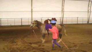 Child and Pony Play Stick Together Game & Lunge Over Jumps