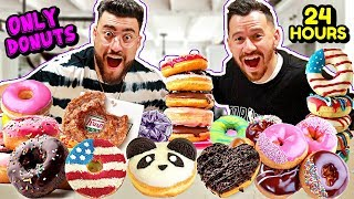 I ONLY ATE DONUTS FOR 24 HOURS! (IMPOSSIBLE FOOD CHALLENGE, NEVER AGAIN)