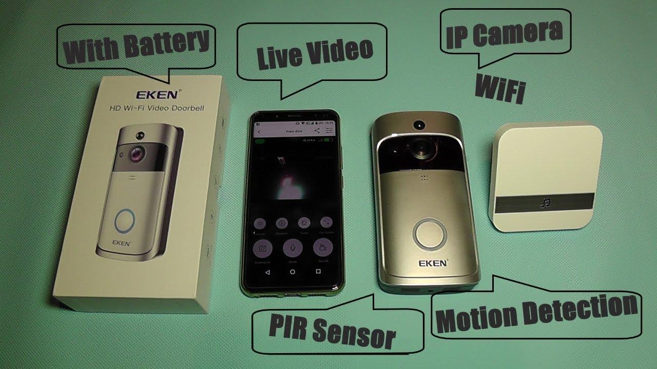 91303db2adc40 EKEN V5 Video Doorbell - Advanced WiFi IP Cam with PIR Alarm Sensor