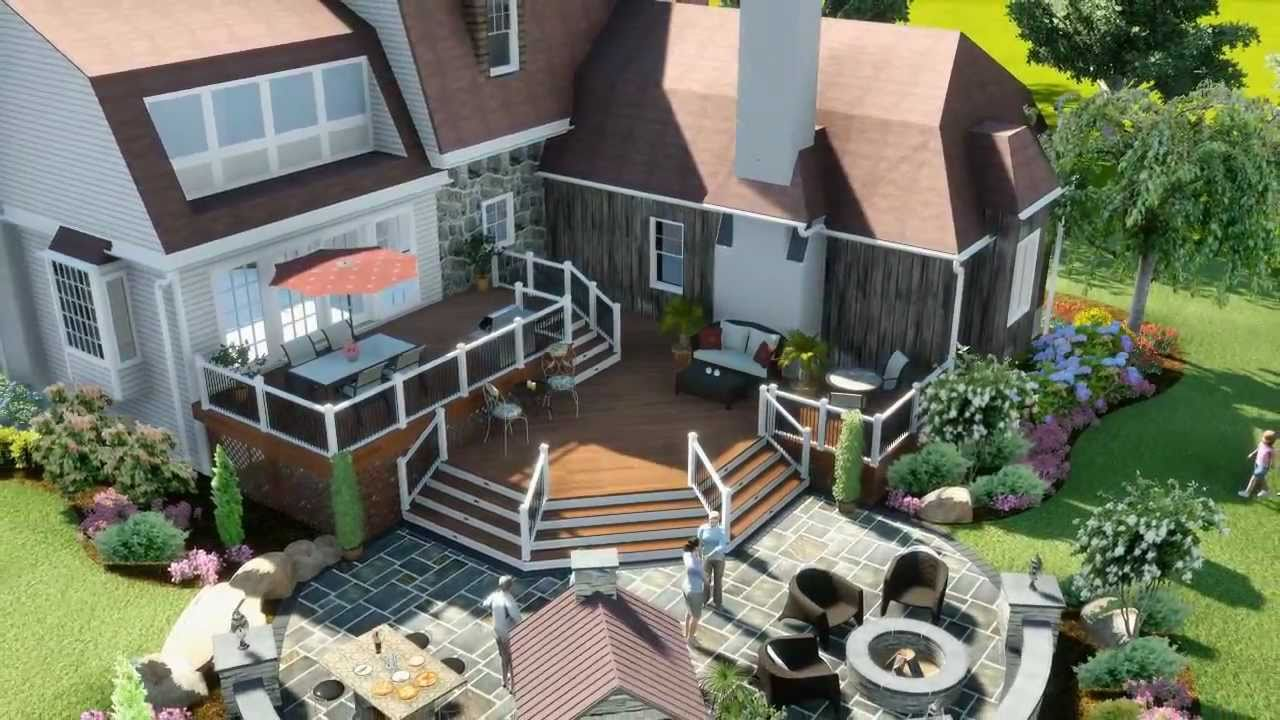 3d Patio Landscape Deck Design Youtube