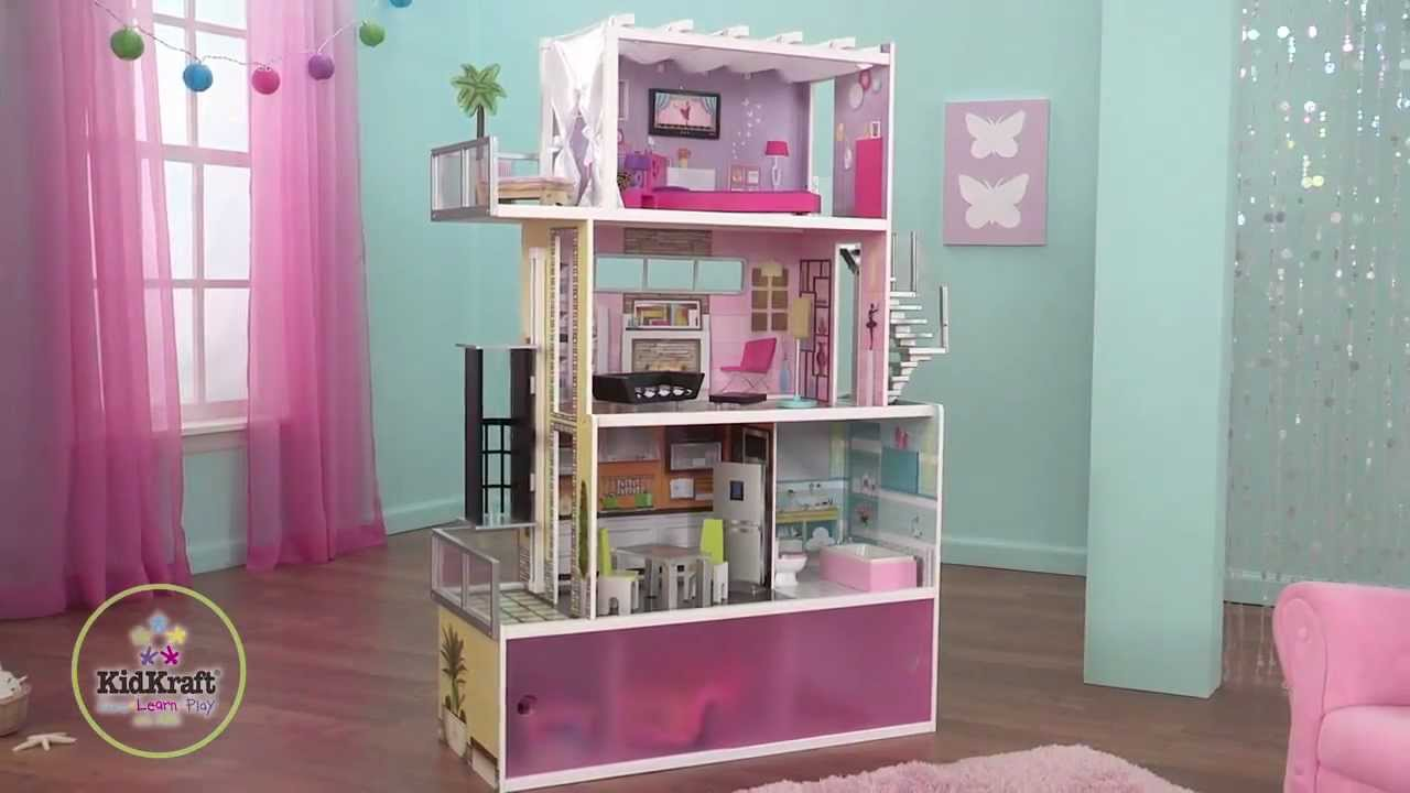 Childrens Wooden Beachfront Mansion Dollhouse YouTube