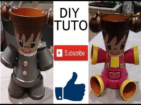 tuto diy poup e en pots de terre cuites youtube