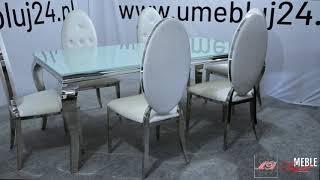 Stół Glamour 780 + Krzesła Glamour 1269