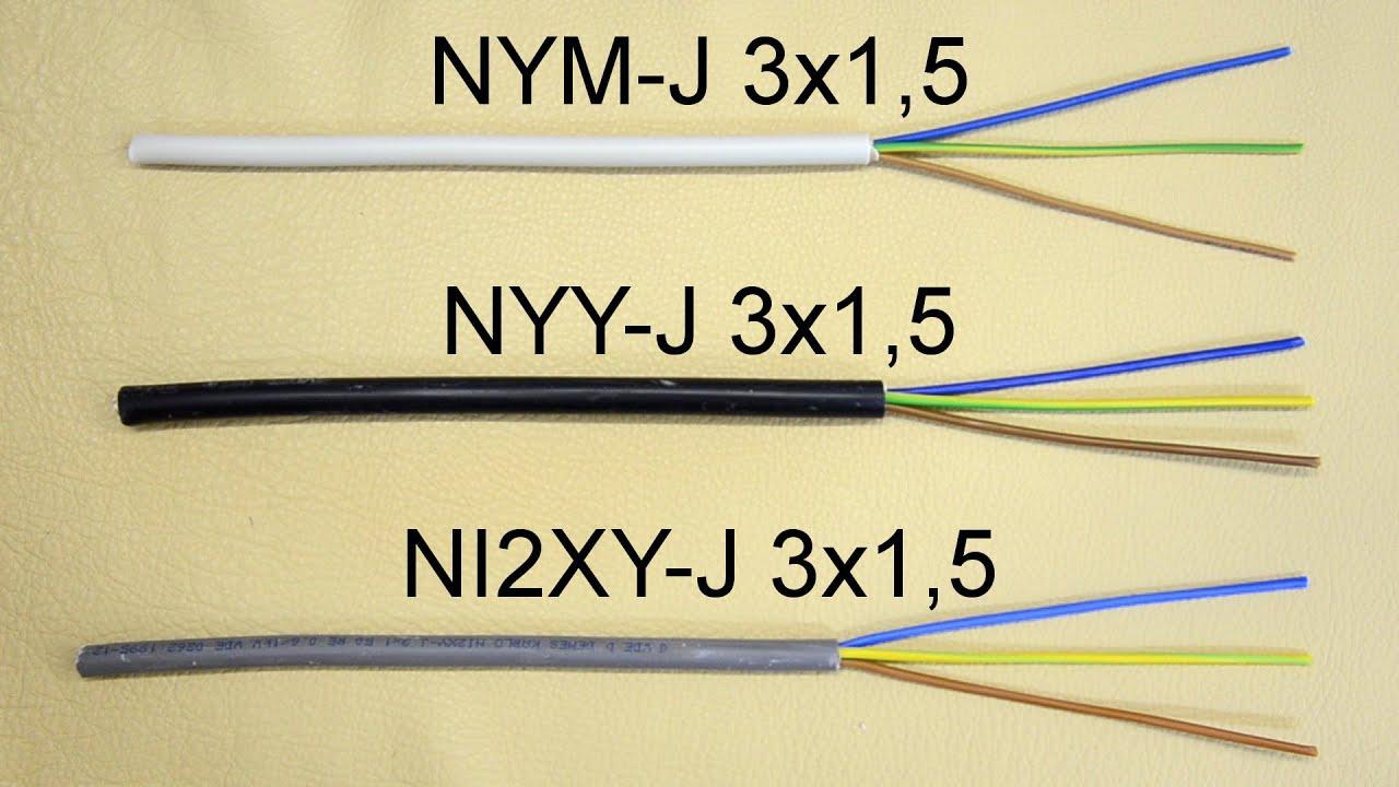 typenbezeichnungen von kabeln leitungen bedeutung der buchstaben und zahlen nym j 3x1 5. Black Bedroom Furniture Sets. Home Design Ideas
