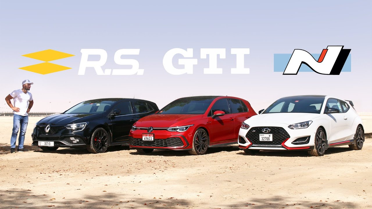 هل تستطيع فيلوستر ان منافسة جولف الجديدة وميجان أر اس؟ - Veloster N vs Golf GTI vs Megane RS