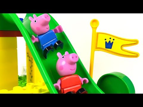 UNBOXING PLAYBIG BLOXX SETS WITH PEPPA PIG'S FAMILY AND SUZY & GIANT SLIDE CONSTRUCTION AND FUN