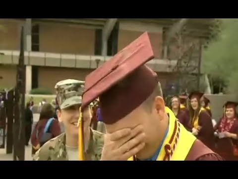 Soldier Returns in Time to Surprise Best Friend at ASU Graduation