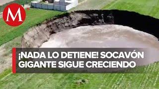 Socavón de Puebla crece de tamaño y sufre deslaves al interior: Segob