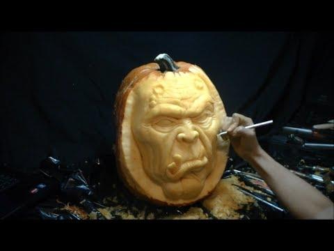 3d Pumpkin Carving Quot Goblin Quot Time Lapse Youtube