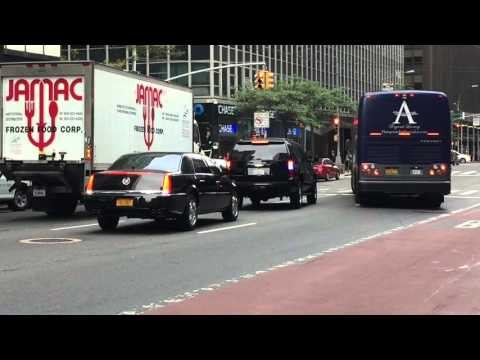 UNITED STATES SECRET SERVICE ESCORTING DIPLOMAT ON 3RD AVE. DURING UNITED NATIONS GENERAL ASSEMBLY.
