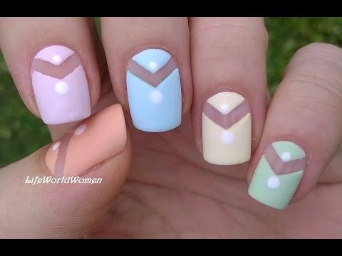 matte nail art design in pastels