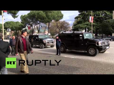 Albania: US Secretary of State John Kerry arrives in Tirana