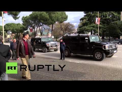 Albania: US Secretary of State John Kerry arrives in Tirana