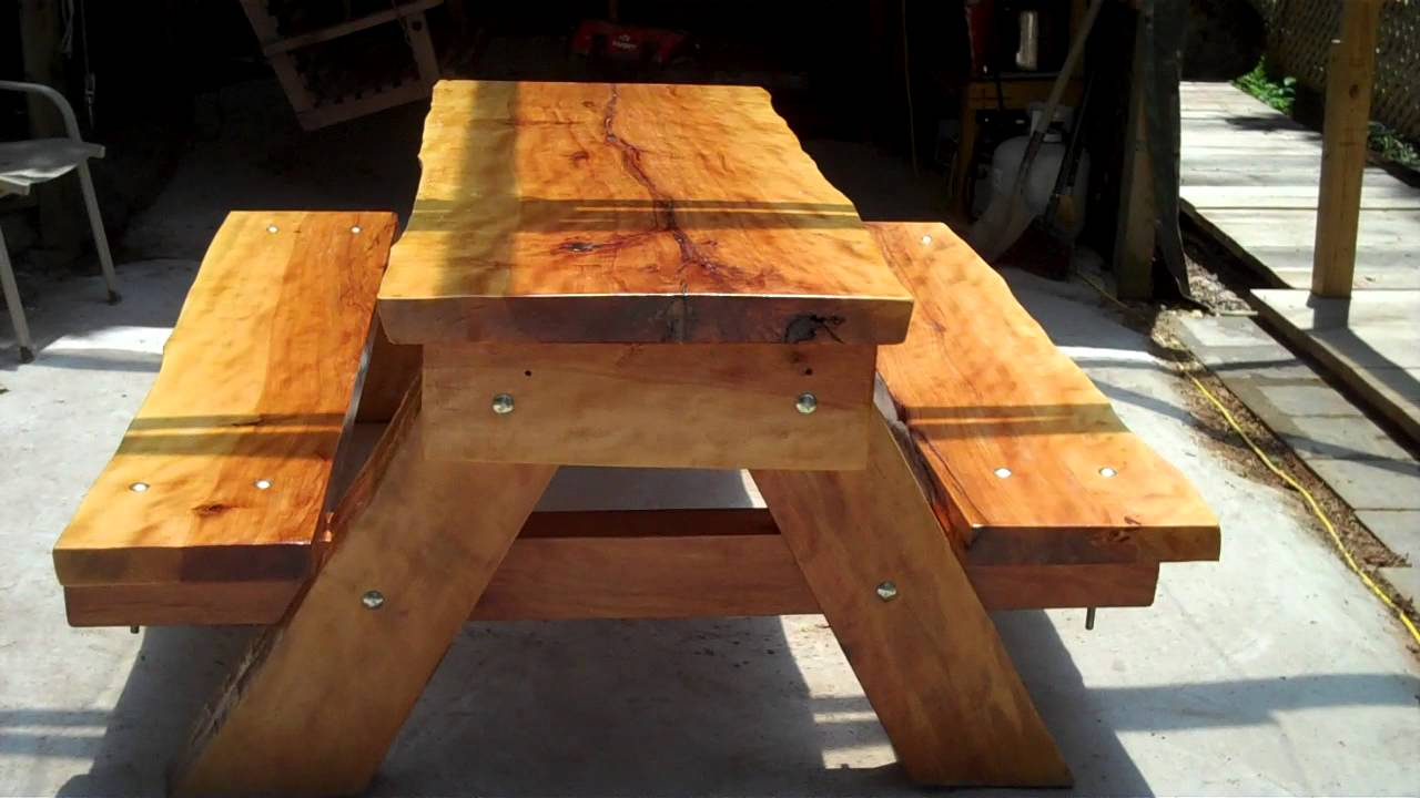 400 Pound Slab Picnic Table   YouTube