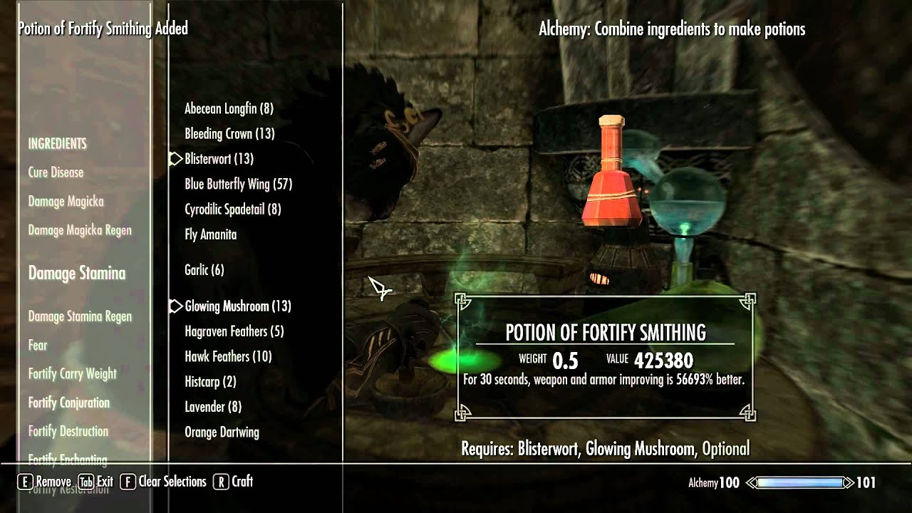 Tesv Skyrim Alchemy Exploit That Allows You To Make Overpowered