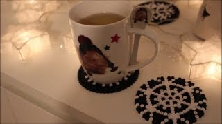 DIY: Glasuntersetzer Bügelperlen Schneeflocken / Perler Beads Christmas Coaster Snowflakes