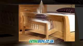 Wood Sleigh Bed - Oak Finish, Luxury Bed Frame