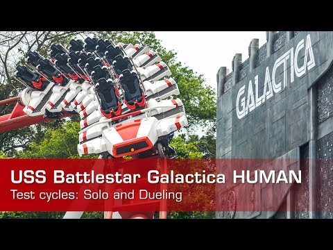 USS Battlestar Galactica HUMAN vs CYLON roller coaster 2015 RELAUNCH