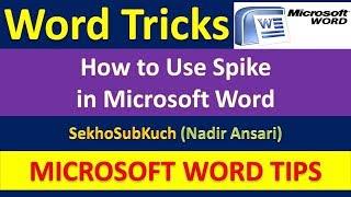 Word Tips and Tricks : How to Use Spike in Microsoft Word [Urdu / Hindi]