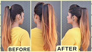 How to: Perfect Long Ponytail For Short Hair /High Ponytail Hairstyle/ Hairstyle For School, college