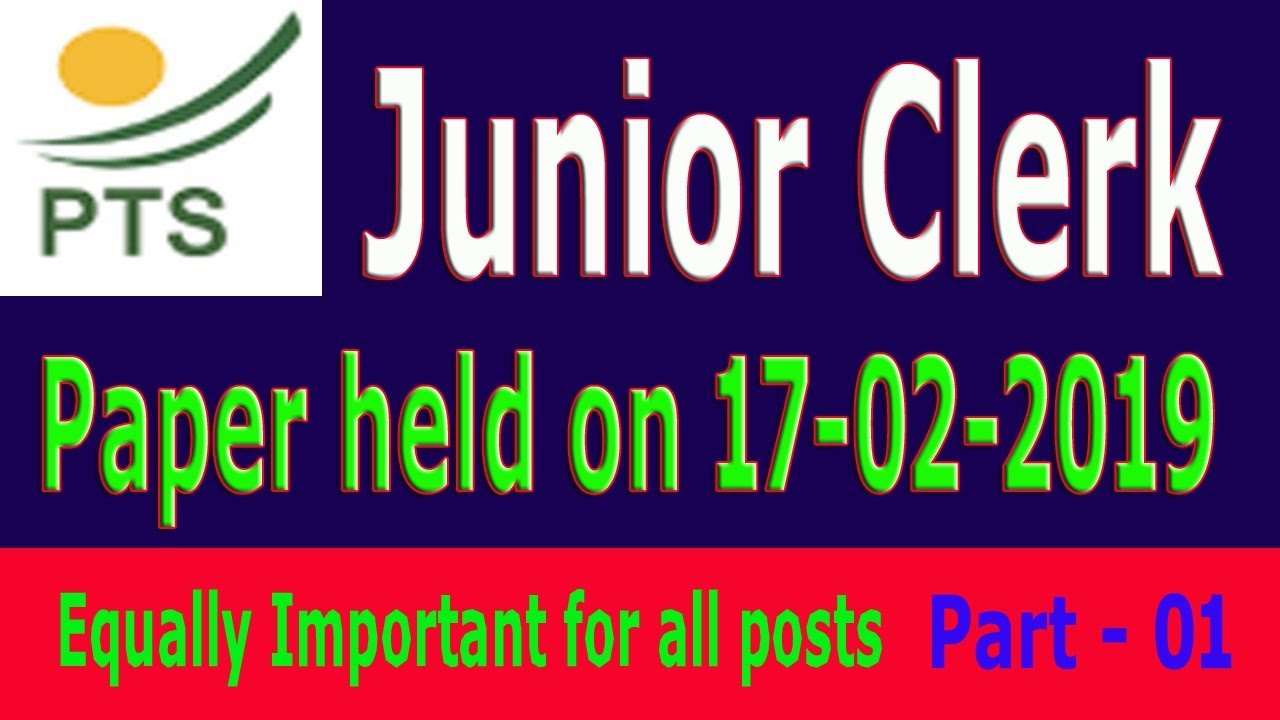 PTS past paper : Junior clerk 17-02-2019 : Part 01