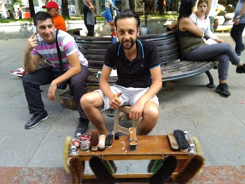 Getting my Shoes done in Skopje, Macedonia