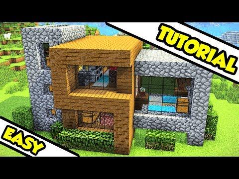 Minecraft EASY Survival Modern House Tutorial (How to Build Design Tour Ideas) thumbnail