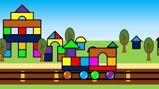 積み木の街と車と機関車・こどもアニメ