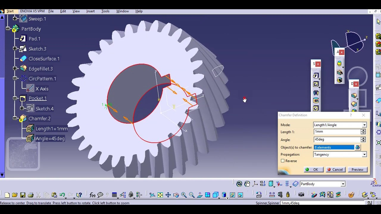 how to draw helical gear in catia