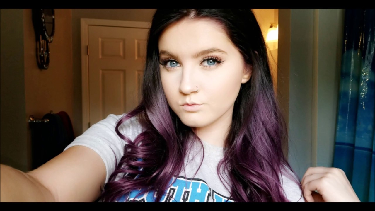 How To Dye Your Hair Black To Plum Ombre Youtube