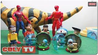 siêu nhân gao người nhện đánh khủng long đẻ trứng và bóc trứng bất ngờ đẹp - đồ chơi doremon hài