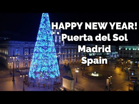 New Year's Eve from Puerta del Sol, Madrid, Spain. Happy New Year 2019!