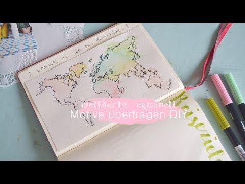 aquarell-weltkarte-malen-|-motive-auf-dickes-papier-übertragen-tipps