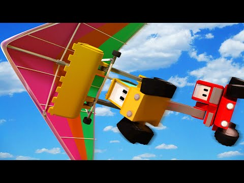 The Hang-glider - Tiny Trucks for Kids with Street Vehicles Bulldozer, Excavator & Crane
