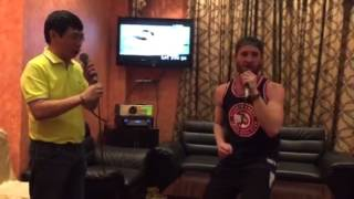 Platzman doing karaoke in Manila