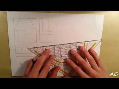 Technisch Zeichnen Tutorial: Dreitafelprojektion & dimetrisches Raumbild #2 (German Deutsch)
