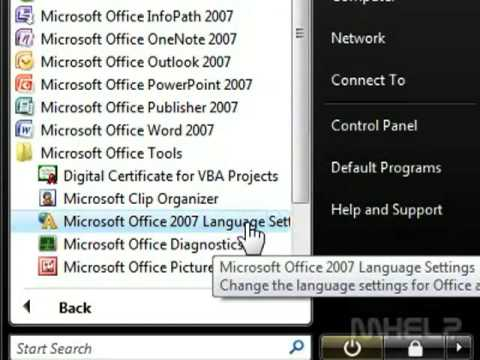 How to change microsoft office 2007 language from chinese to english